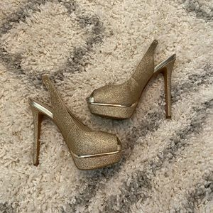 Aldo peep-toe Gold Sparkle Platform High Heel